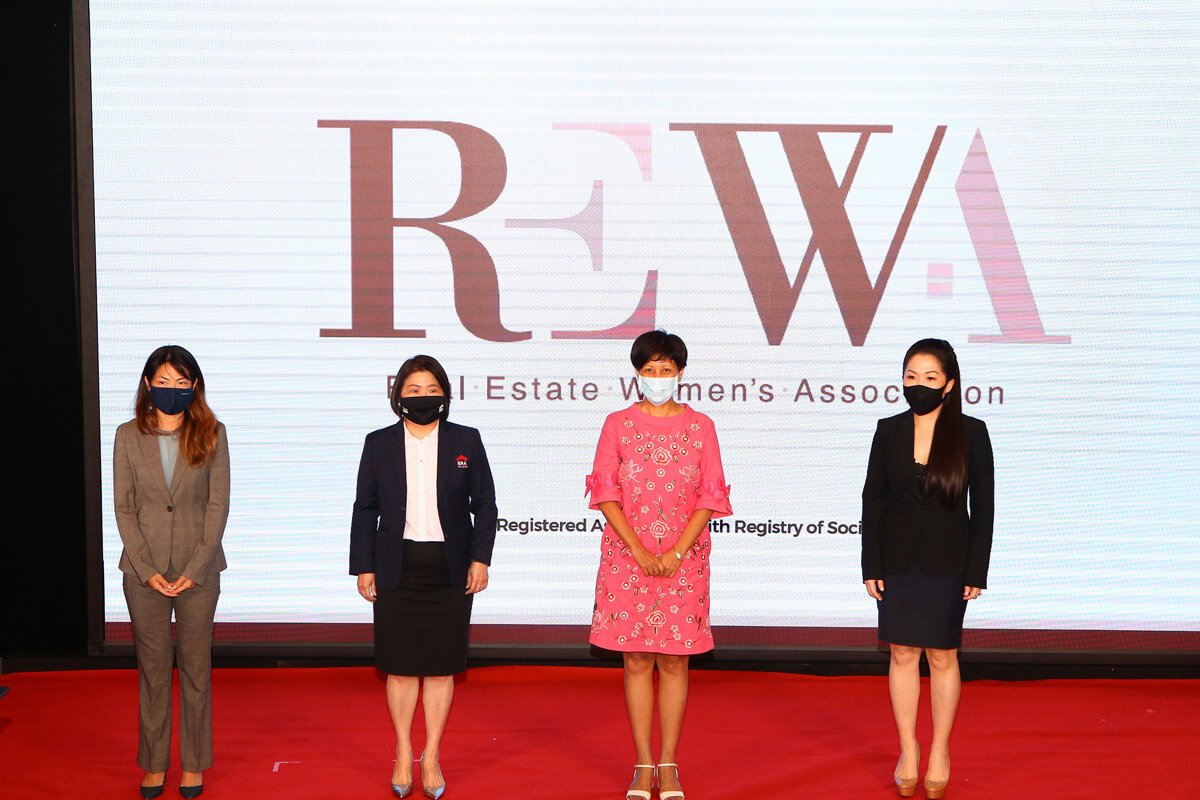 Supporting the launch of Real Estate Women's Association: From Left, Kemmy Tan, CEO of M+S and Vice President of REWA |Doris Ong, COO of ERA and Secretary of REWA | Indranee Rajah, 2nd Second Minister for Finance and National Development | Jas Ng, Realtor and President of REWA