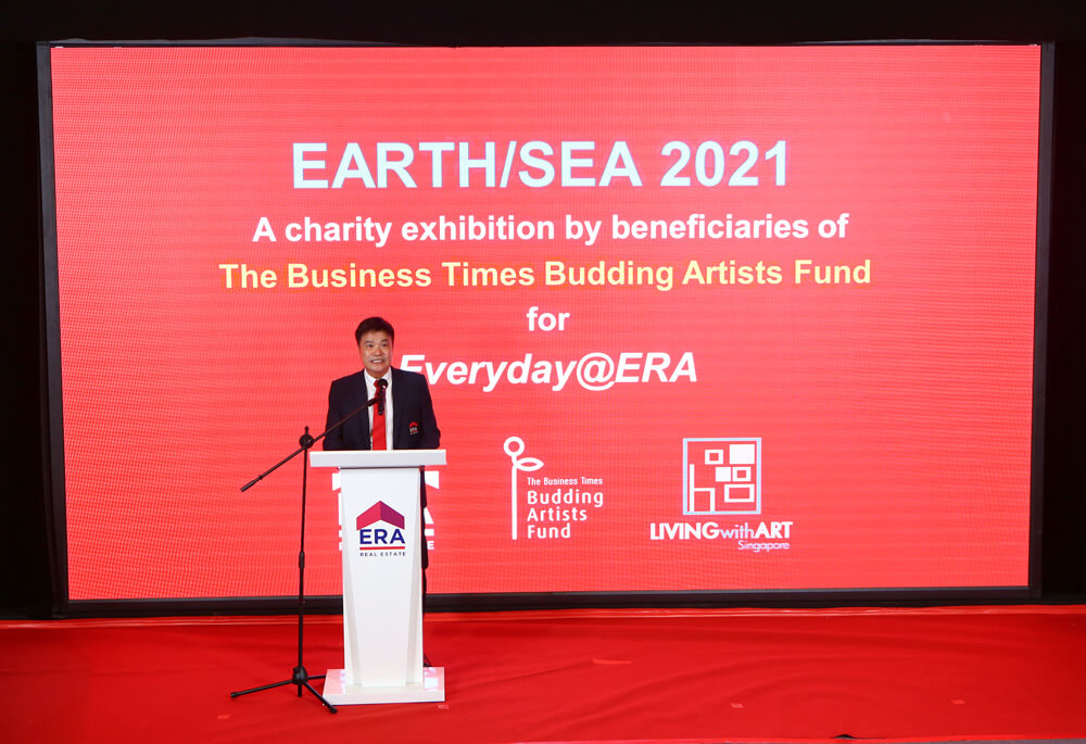 CEO Jack Chua announcing the launch of the charity art exhibition, dubbed Earth/Sea 2021 at the Q2'2021 Career Advancement Day.